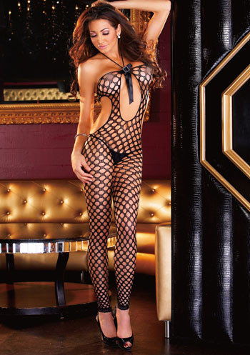 Wide crochet knit Bodystocking EH532
