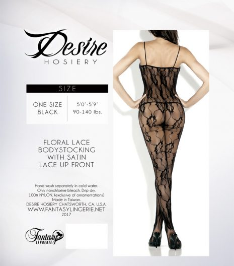 Lace Floral Lace Bodystocking w/ Deep V Front Satin - 2017