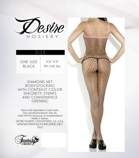 Fishnet Bodystocking w/contrast colour spaghetti strap - 2016