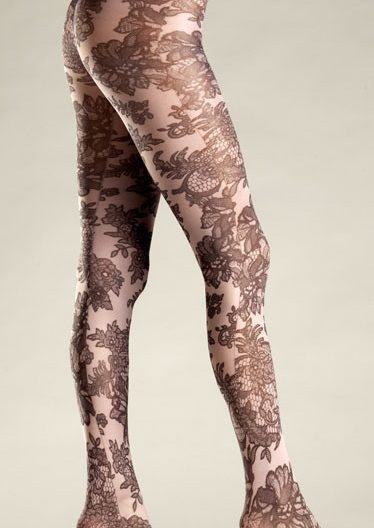 Opaque floral print pantyhose BW682N