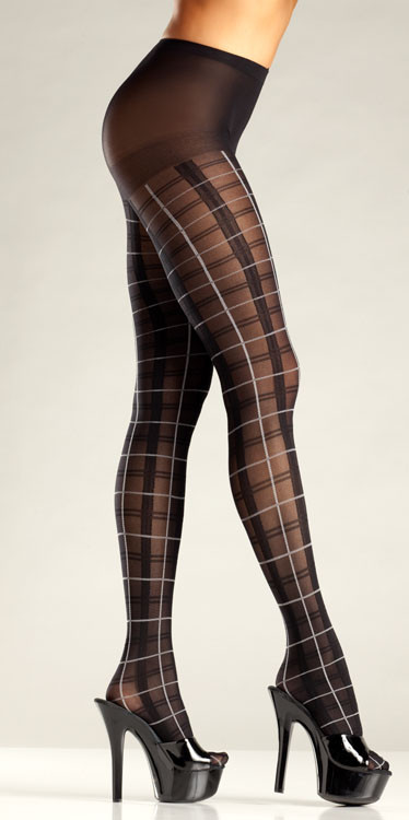 Plaid pantyhose with white accent BW686