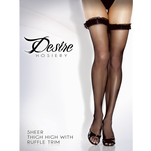 Sheer Thigh Hi With Ruffle Trim- 2012ST