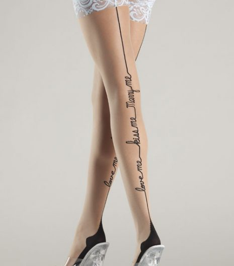 Sheer thigh highs with light Blue lace top and love-me-kiss-me-marry-me backseam BW709