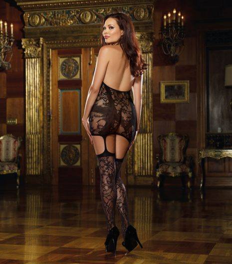 Lace fishnet halter garter dress 0145X
