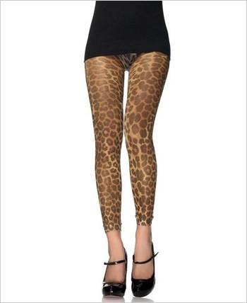 Lurex Leopard Print Footless Tights