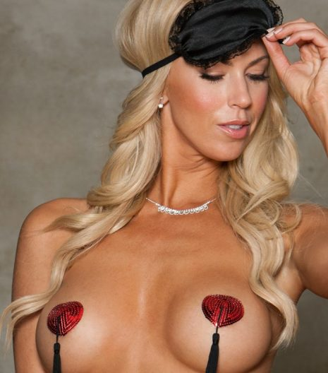 Heart-shaped sequin pasties with tassles. Red and Black