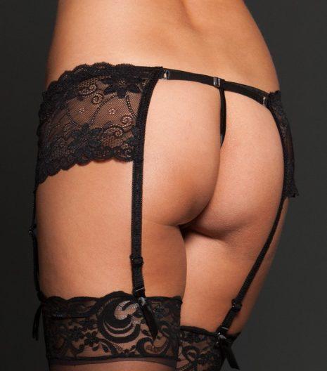 Lace garter belt with adjustable back strap.