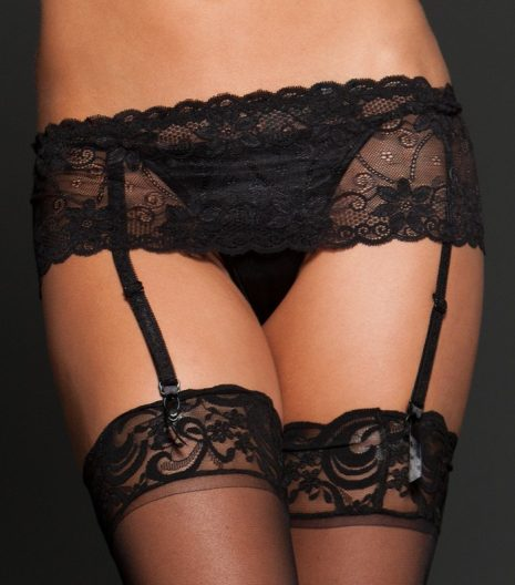 Lace garter belt with adjustable back strap.