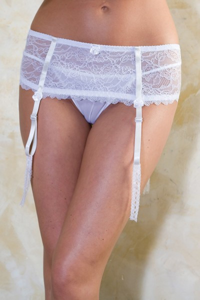 : Bridal lace garter-skirt with ribbon and bead accents.