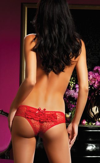 Lace ruffles open crotch pantie Red and White