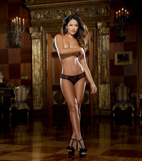 Stretch lace open crotch panty accented with ruffled lace back detailing.