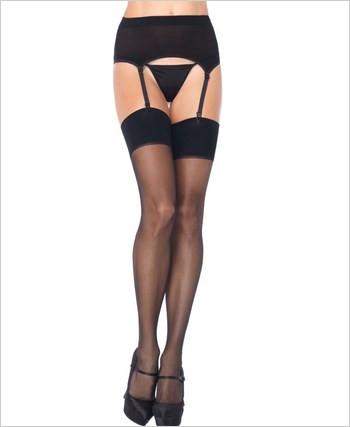 Spandex sheer garter belt and thigh high stokings set: 2 Colors