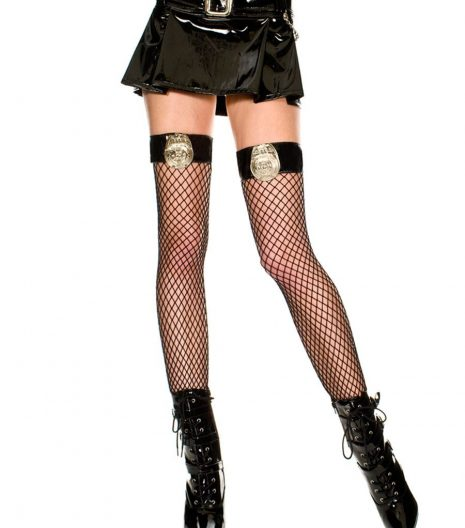 Diamond Net Thigh Highs With Cop's Badge