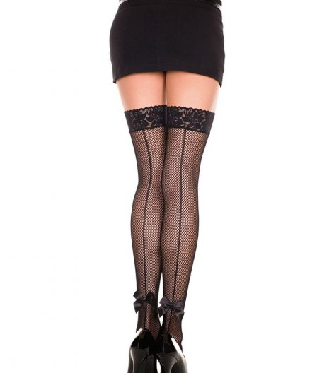 Lace Top Fishnet Thigh Highs With Back Bow