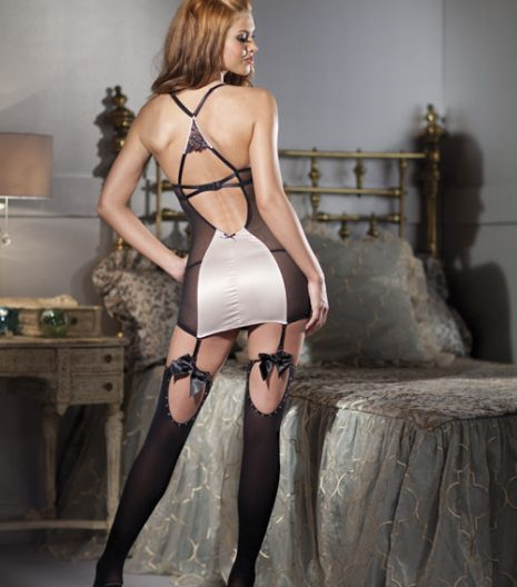 Satin and mesh cami suspender with cire embroidery