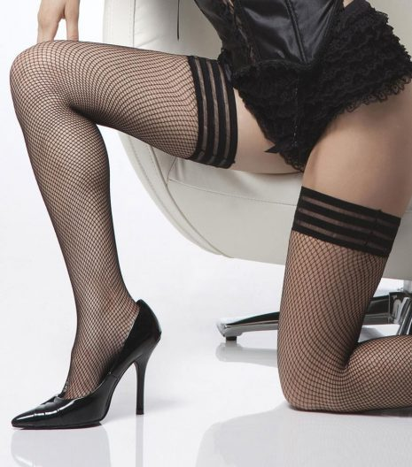 Fishnet thigh high stockings with triple elastic top