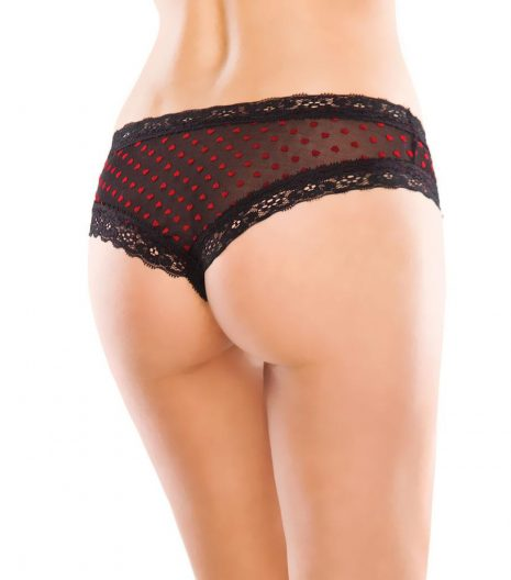 Mesh panty with contrasting scalloped lace trim