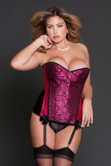 Color block satin corset with lace overlay