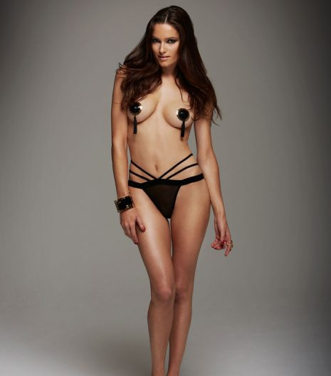 Sheer mesh crotchless butterfly cage cheeky with strappy bondage detail.