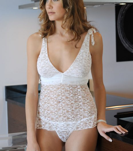 Deep plunging lace camisole with shoulder ties, gathered mesh, and matching g-string Black and White