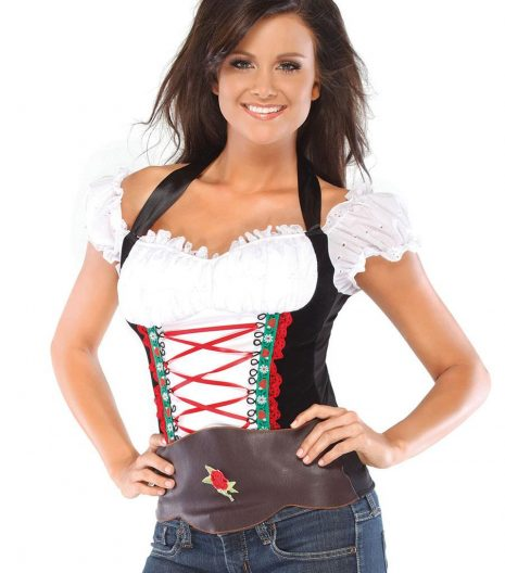 Beer Girl bustier with halter ribbon ties