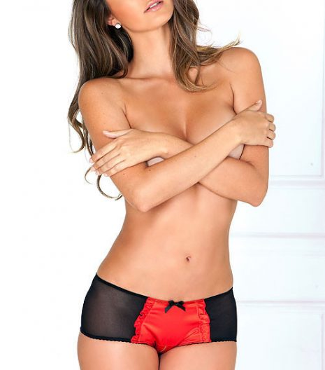 Satin and mesh crotchless tuxedo panty with rear frills 1054