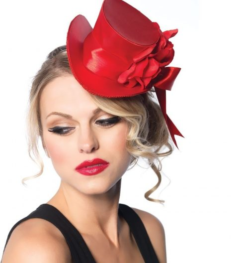 Satin Top Hat With Flower And Bow Accent More Colours