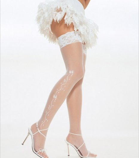 Wedding bell sheer lace top thigh highs with rhinestone.