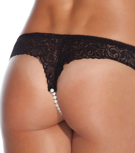Black low rise lace panty with pearl crotch detail.