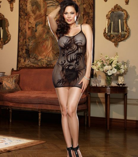 Stretch fishnet chemise with dragon tattoo design and adjustable shoulder straps. 9300