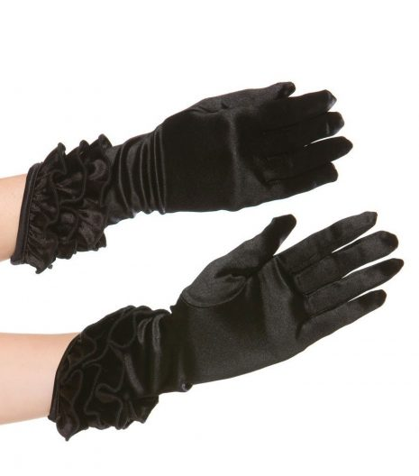Above wrist stretch satin gloves with angled hem and ruffles. 1770