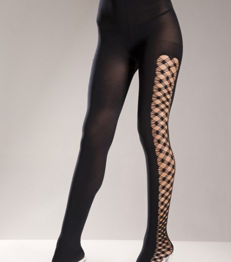 Opaque Black Spandex Pantyhose with Multi-Fencenet Sides
