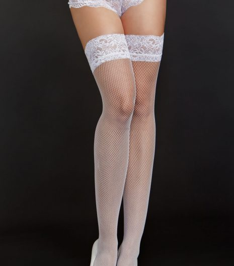 "Fine fishnet thigh highs with 2"" lace top. Queen and One Size"