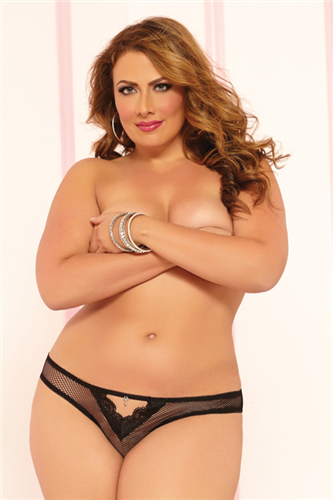 Plus Size Fishnet and lace trim thong with keyhole front 1X/2X and 3X/4X