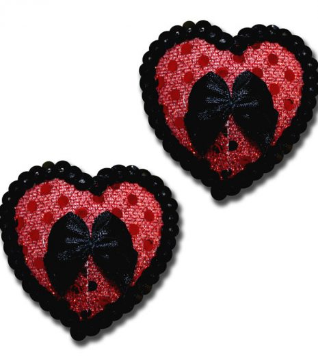 Contrast color heart shaped sequin pasties with satin bow.
