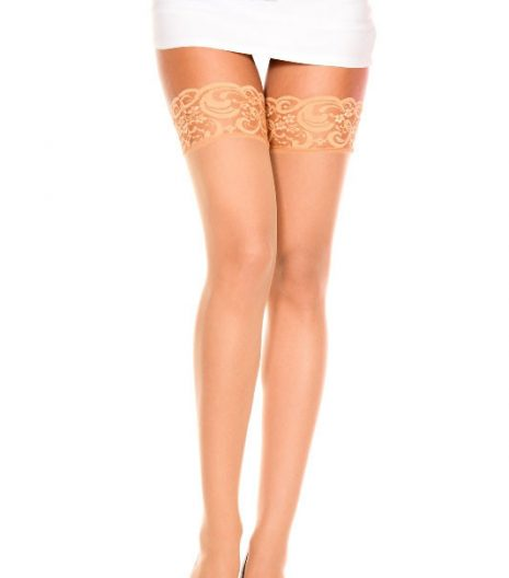 Sheer Thigh Hi With Lace Top One Size and Queen 4 Colours