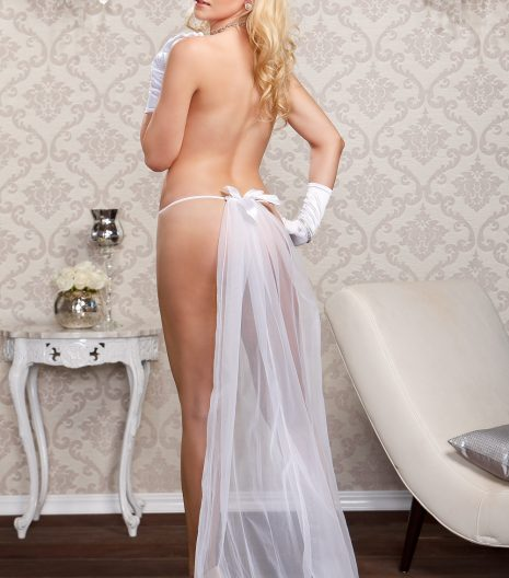 Lace g-string with long detachable chiffon veil and satin bow accent