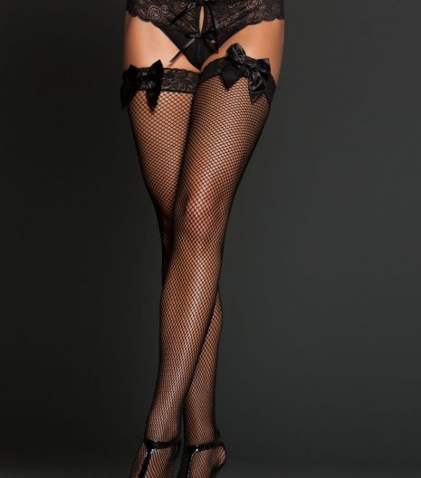 Fishnet and satin bows thigh high