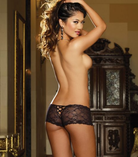 Stretch lace cheeky boyshort with satin ribbon lace-up back detail and satin bow.