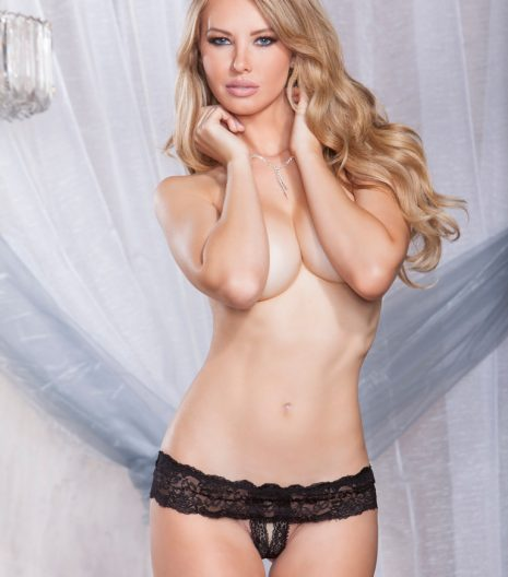 Stretch lace open crotch skirted thong with scallop lace trim.