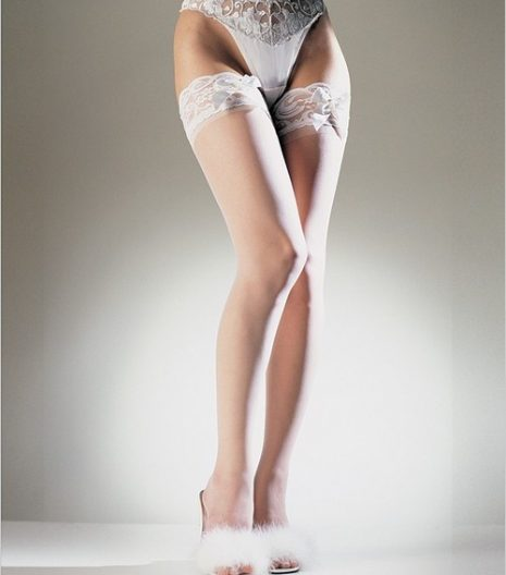 Sheer Lace Top Thigh Highs With Satin Bow