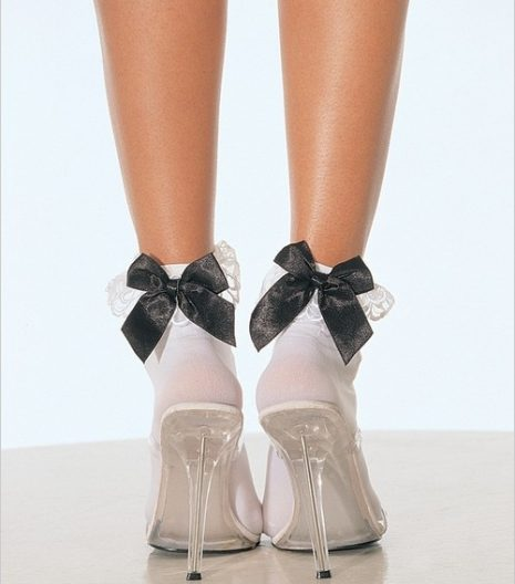 Nylon Anklets With Ruffle And Satin Bow