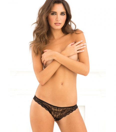 Rene Rofe Crotchless Lace V-Back Panty Black S/M and M/L