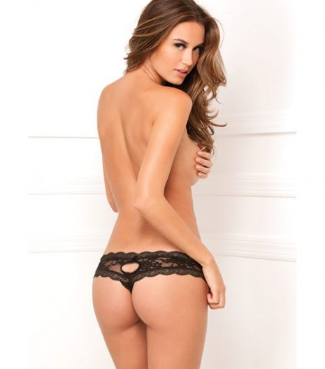 Rene Rofe Crotchless Floral Lace Thong