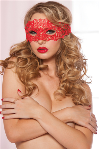 Galloon Lace Eye Mask (Packaged) Black, Red and White