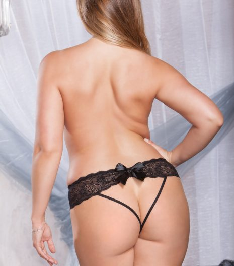 Stretch Mesh and Lace Open Back Strappy Panty With Large Satin Bow. 1X/2X and 3X/4X