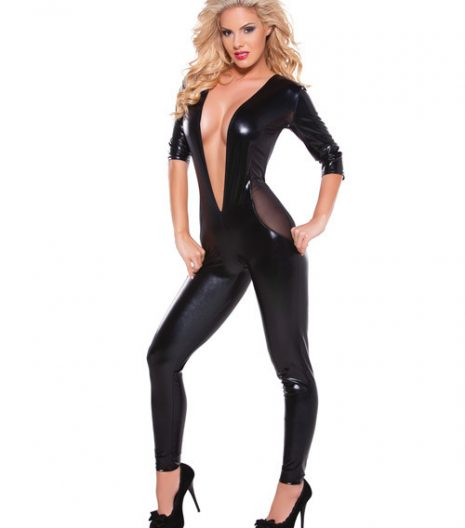 Kitten Wet Look & Mesh Catsuit w/Low Cut V Front Black O/S