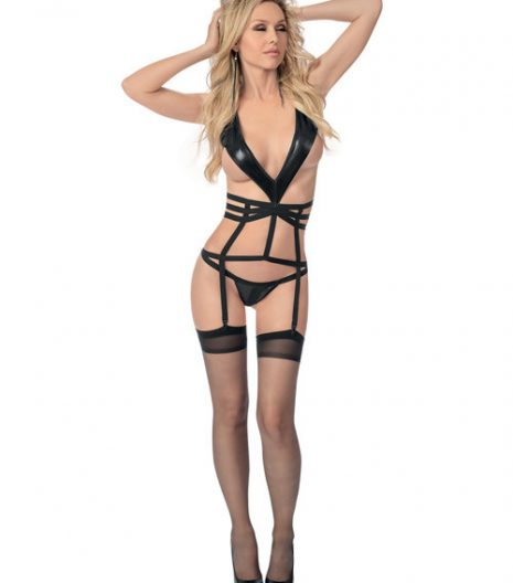 Strappy Collared Bustier w/Hose Black O/S