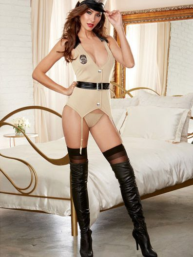 5 pc Stretch Knit Vest w/Faux Vinyl Collar & Attached Garters, Belt, Cap, Badge & Thong Khaki O/S and Queen