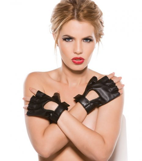 Faux Leather Fingerless Short Gloves Black O/S